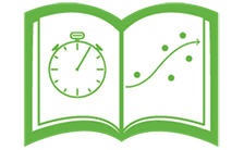 Icon of a book with a stop watch and a graph