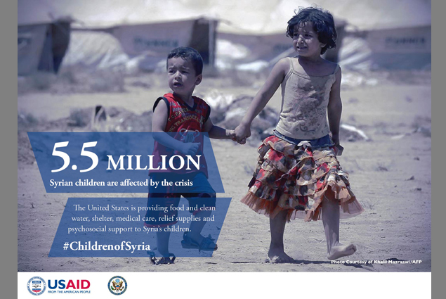 5.5 million Syrian children are affected by the crisis.
