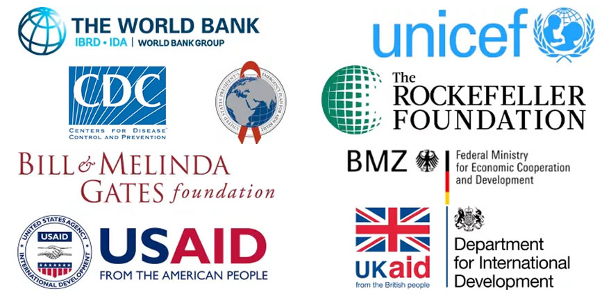 A collage of logos, showing contributors to the Principles of Donor Alignment