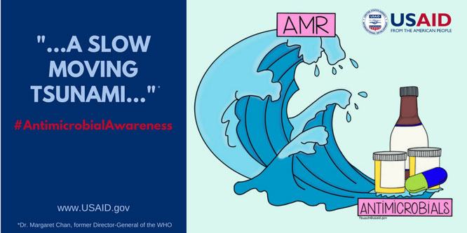 AMR - A slow moving tsunami - #Antimicrobial Awareness. Graphic of a tidal wave.
