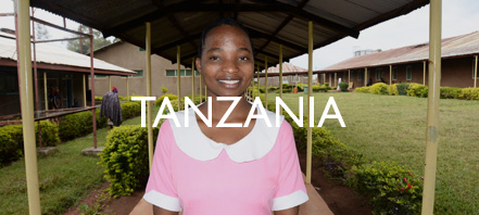 Modesta outside the training facility in Tanzania.
