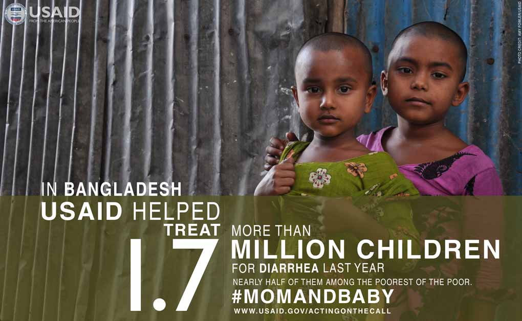 Photo of a mother and child. In Bangladesh, USAID Helped treat more than 1.7 million children for diarrhea last year.