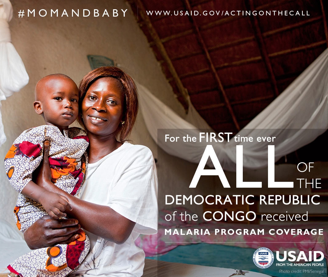 Photo of a mother and child. For the first time ever, all of the DRC received malaria program coverage.