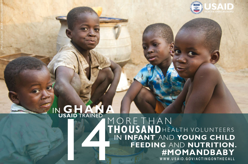 Photo of 4 boys. In Ghana, USAID trained more than 14,000 health volunteers in infant and child feeding and nutrition.