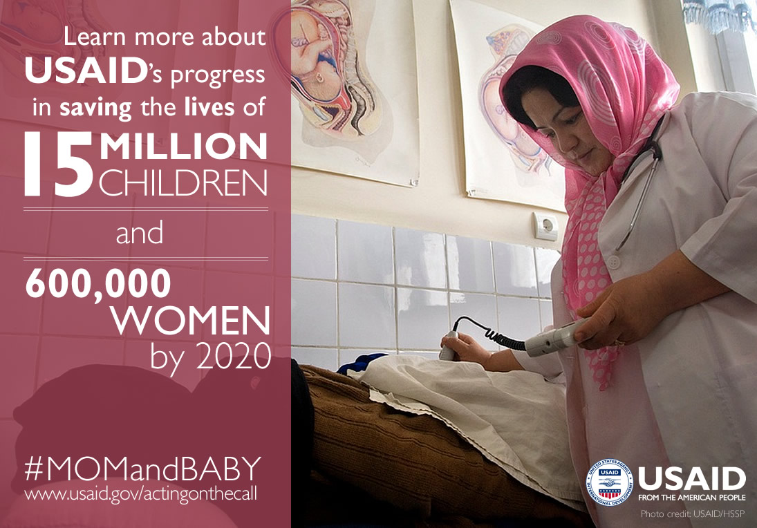 Photo of a health worker doing a sonogram. Learn more about USAID's progress in saving the lives of 15M children and 600k women.