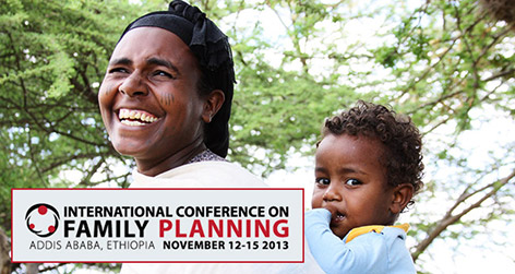 International Conference on Family Planning. Photo of a woman and small child.