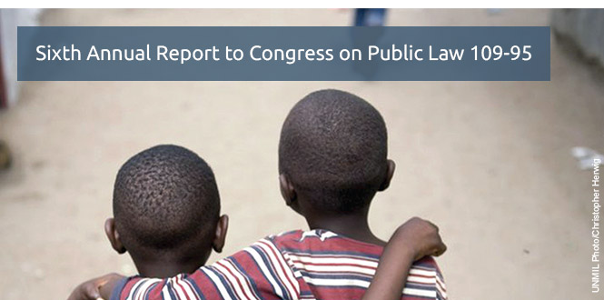 Sixth Annual Report to Congress on Public Law 109-95. Photo of two boys with their arms on each others' shoulders