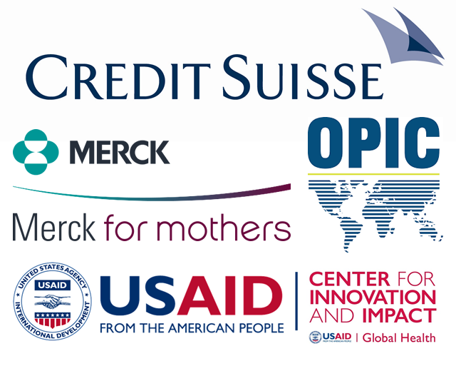 Merck for Mothers, OPIC, Credit Suisse and USAID logos.