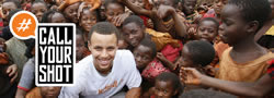 Banner photo of a group of children and professional basketball player Stephen