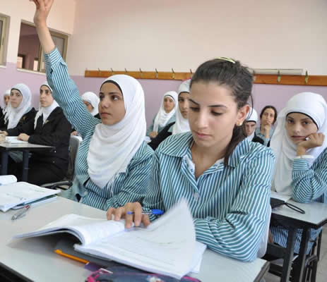 The larger and brighter classrooms in the new Nahalin Secondary Girls' School in the Bethlehem Governorate built by USAID are mu