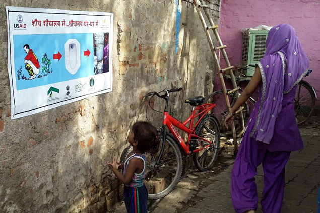 Practicing sanitation and hygiene in India.