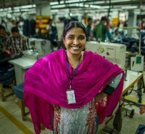 Shahara Khatun, 28, makes blazers in a factory in Gazipur, a district of Dhaka.