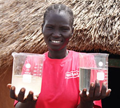Eliza displays the difference between filtered and unfiltered water. Photo courtesy of Medai