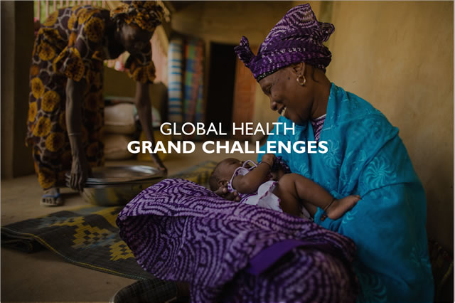 """Global Health Grand Challenges"" - Photo of an African woman in traditional dress, holding an infant."