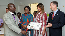 First Lady Melania Trump, alongside Rebecca Akufo-Addo, the First Lady of the Republic of Ghana, Mark Green, USAID Administrator, and Dr. Emmanuel K. Srofenyoh, Greater Accra Regional Hospital Medical Director, looks at medical equipment Tuesday, Oct. 2, 2018, given to the hospital by USAID, in Accra, Ghana.Photo by Andrea Hanks