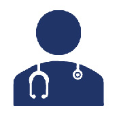 Icon: A silhouette of a healthcare worker wearing a stethoscope
