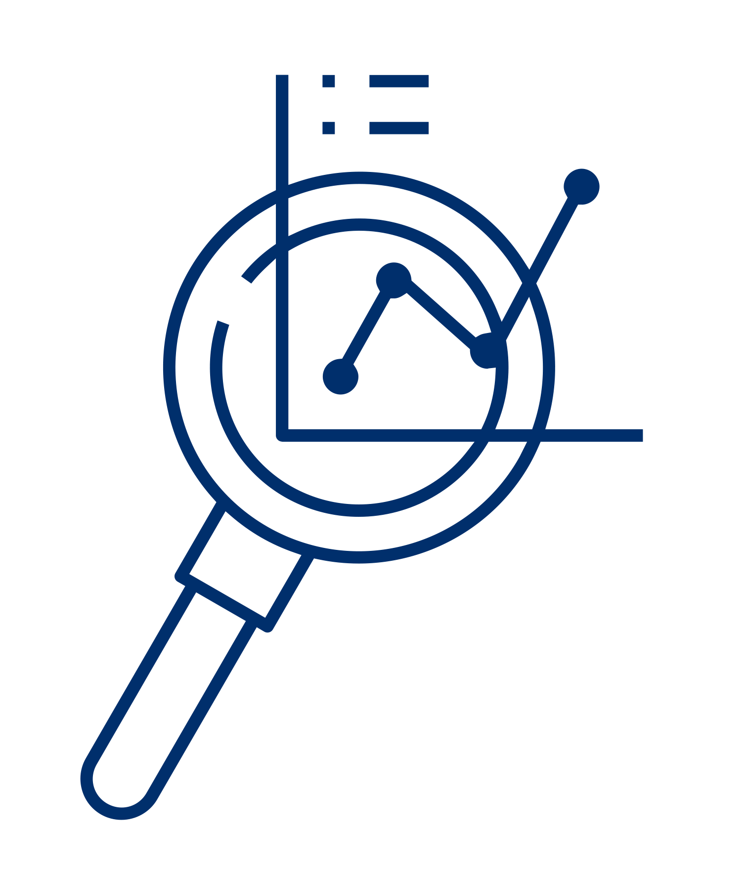 Icon of a magnifying glass with a line chart