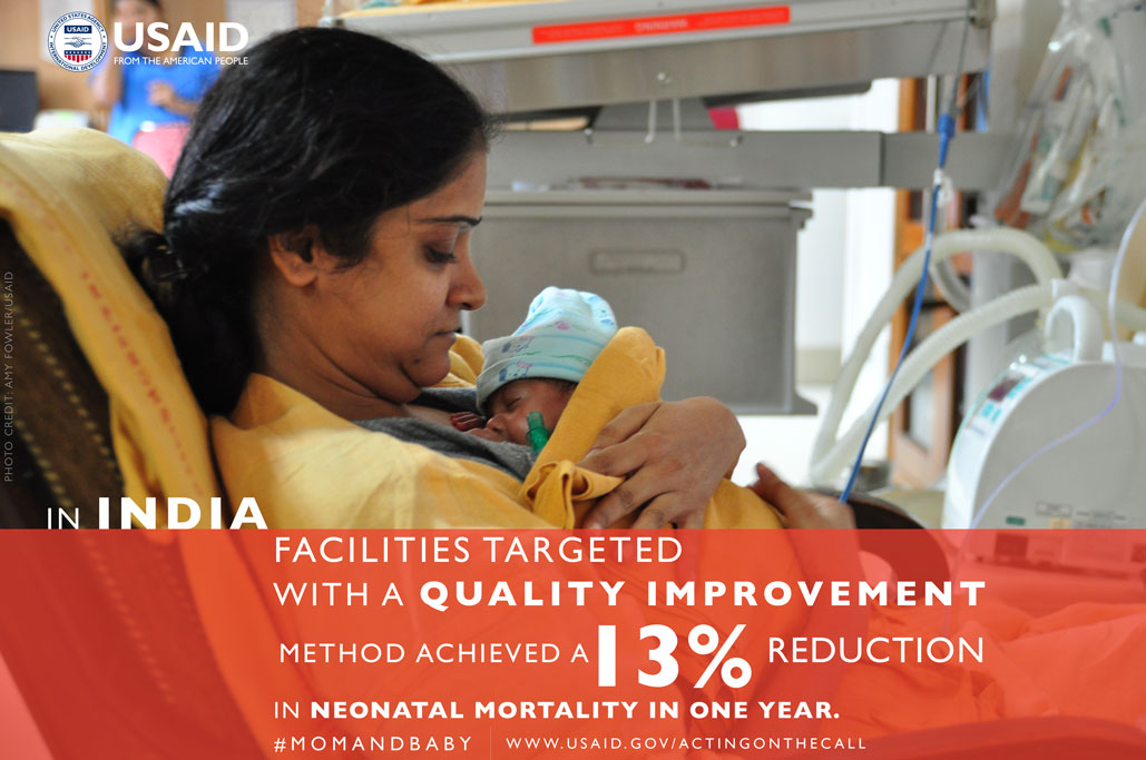 Photo of Mom and baby. In India, facilities targeted with quality improvement achieved a 13% reduction in neonatal mortality.