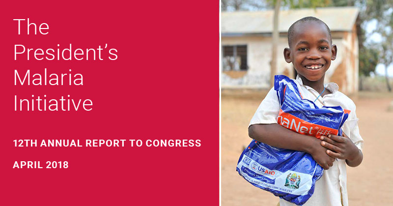 A young boy holds a malaria bed net. The President's Malaria Initiative 12th Annual Report to Congress. April 2018.