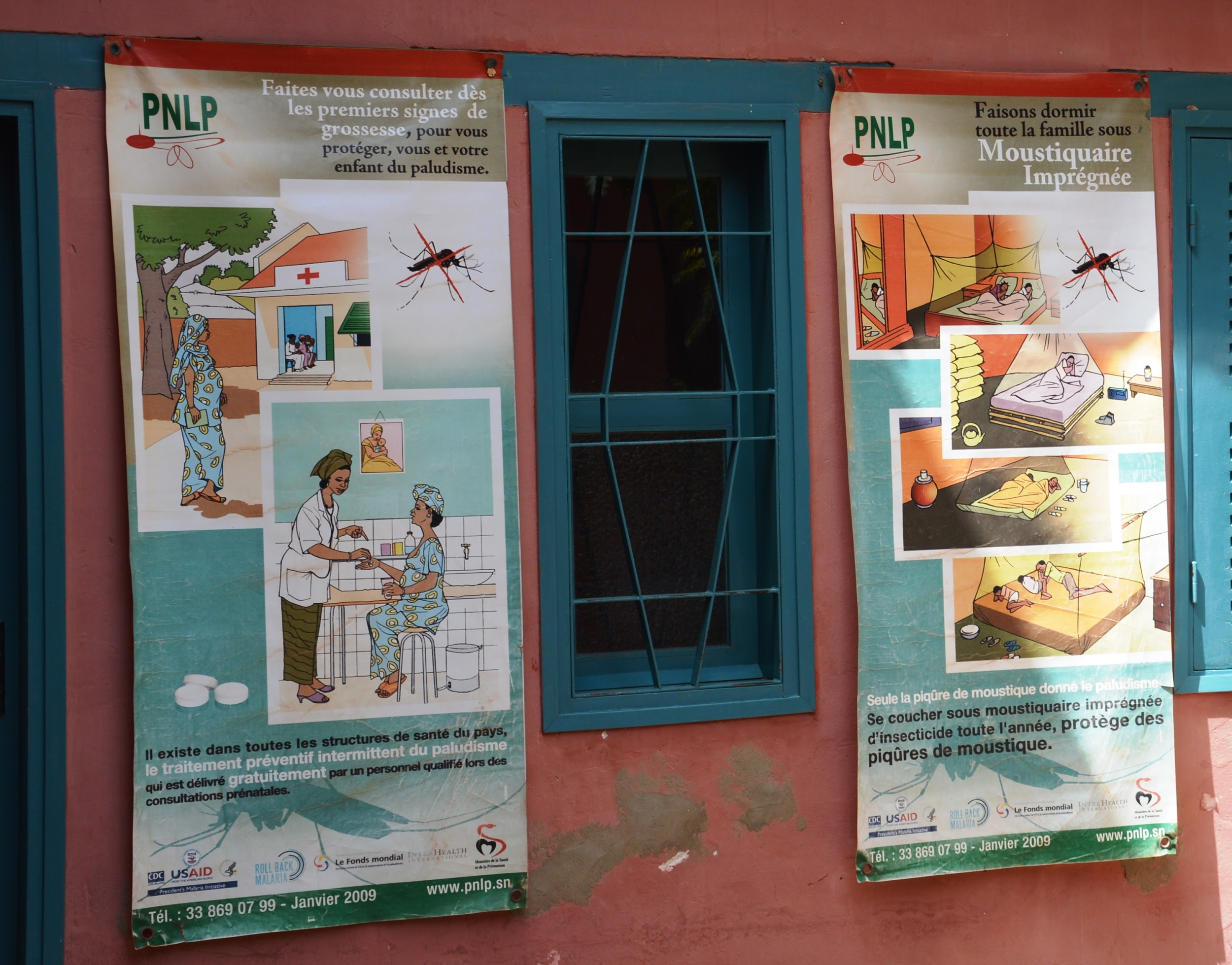 Educational posters on malaria.
