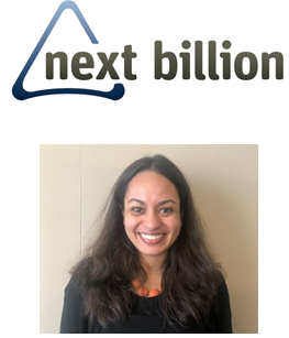 Logo for Next Billion and photo of Priya Sharma