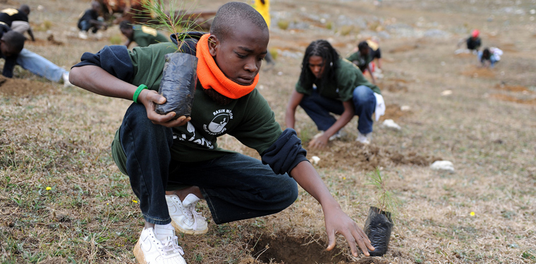 A student plants a tree in spring 2011 as part of a reforestation project with a local NGO in La Visite National Park, Haiti.