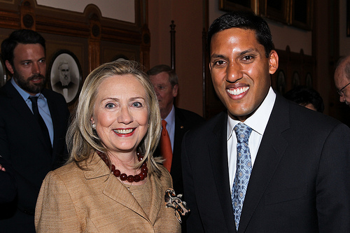 Secretary Clinton and USAID Administrator Raj Shah at the Child Survival Call to Action last June.