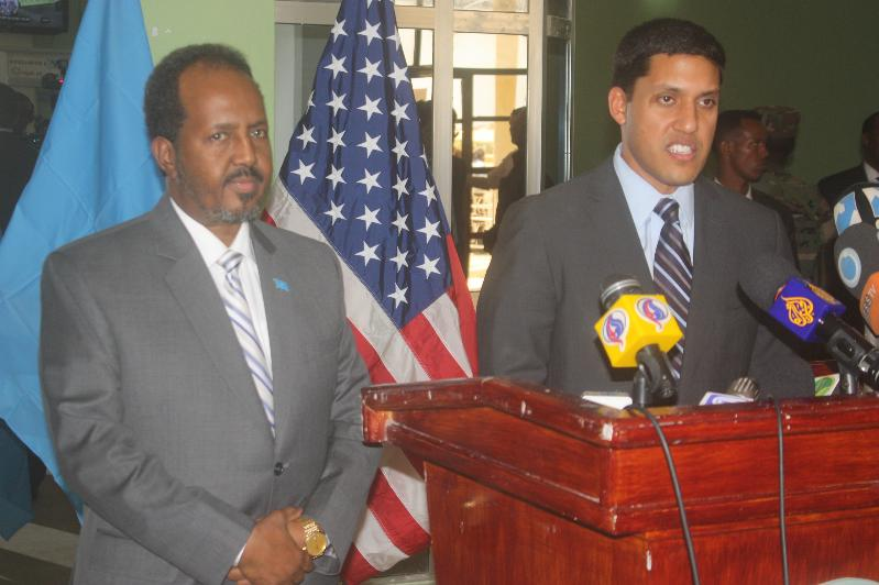 The President of Somalia and Administrator Raj Shah during his visit.