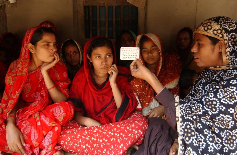 Women learn about their family planning options in Bangladesh