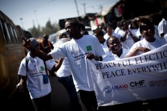 A group of Kenyan youth marching for peace before the general elections in March 2013.