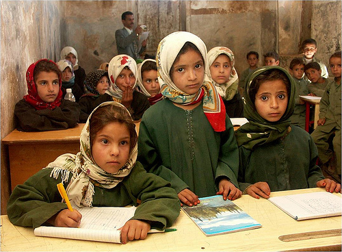School girls in Sana'a, Yemen gather for their lesson.