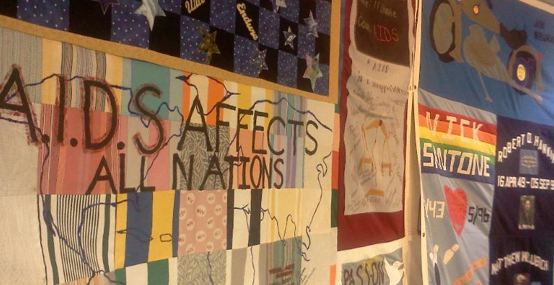 As part of the 2012 International AIDS Conference a portion of the AIDS quilt was on display at the Ronald Reagan building.