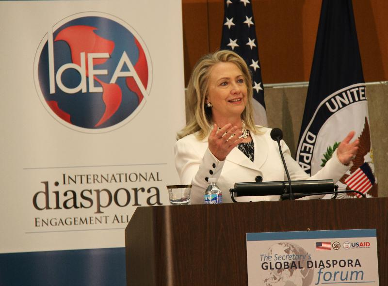 Secretary Clinton at the Global Diaspora Forum. Photo: Pat Adams, USAID