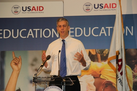 U.S. Education Secretary Arne Duncan speaks at USAID's Global Education Summit in Washington
