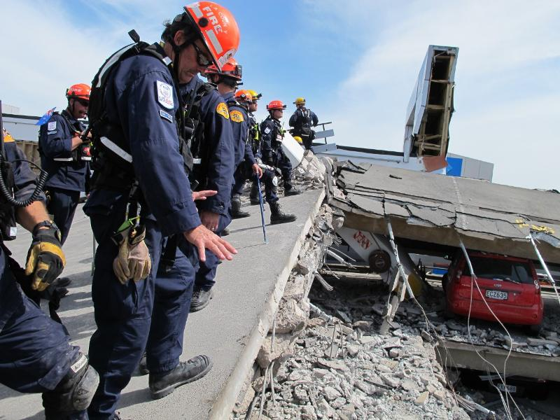 Members of the Los Angeles County Urban Search and Rescue (USAR) team in Christchurch, New Zealand. Credit: USAID