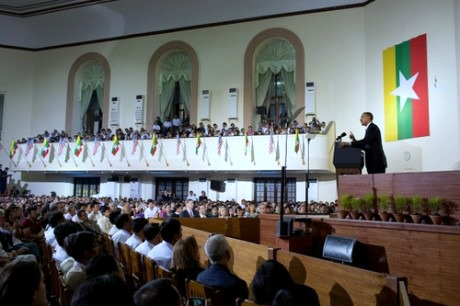 U.S. President Barack Obama delivers a speech at the University of Yangon in Burma.
