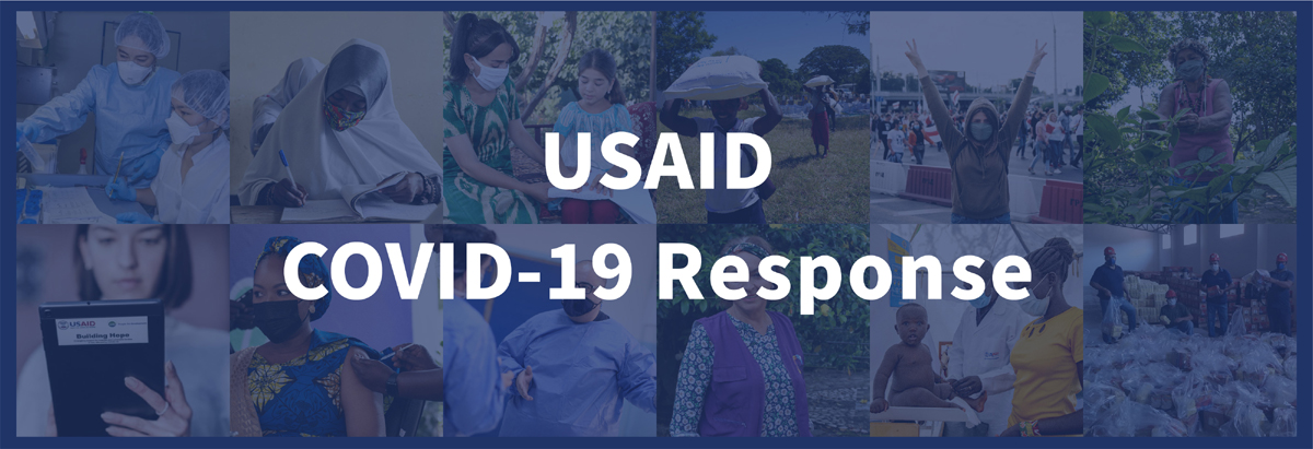 Banner collage of healthcare images. Text overlay: USAID COVID-19 Response