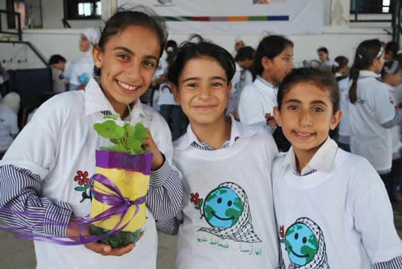 "Young girls from Jalqamous, Jenin participating in the USAID-supported ""Green Apple Day of Service"