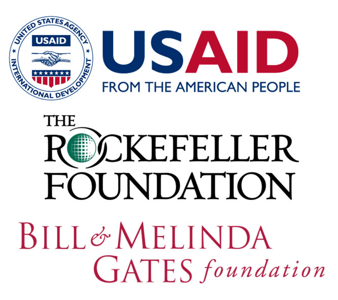 Logos for USAID, the Rockefeller and the Gates Foundations