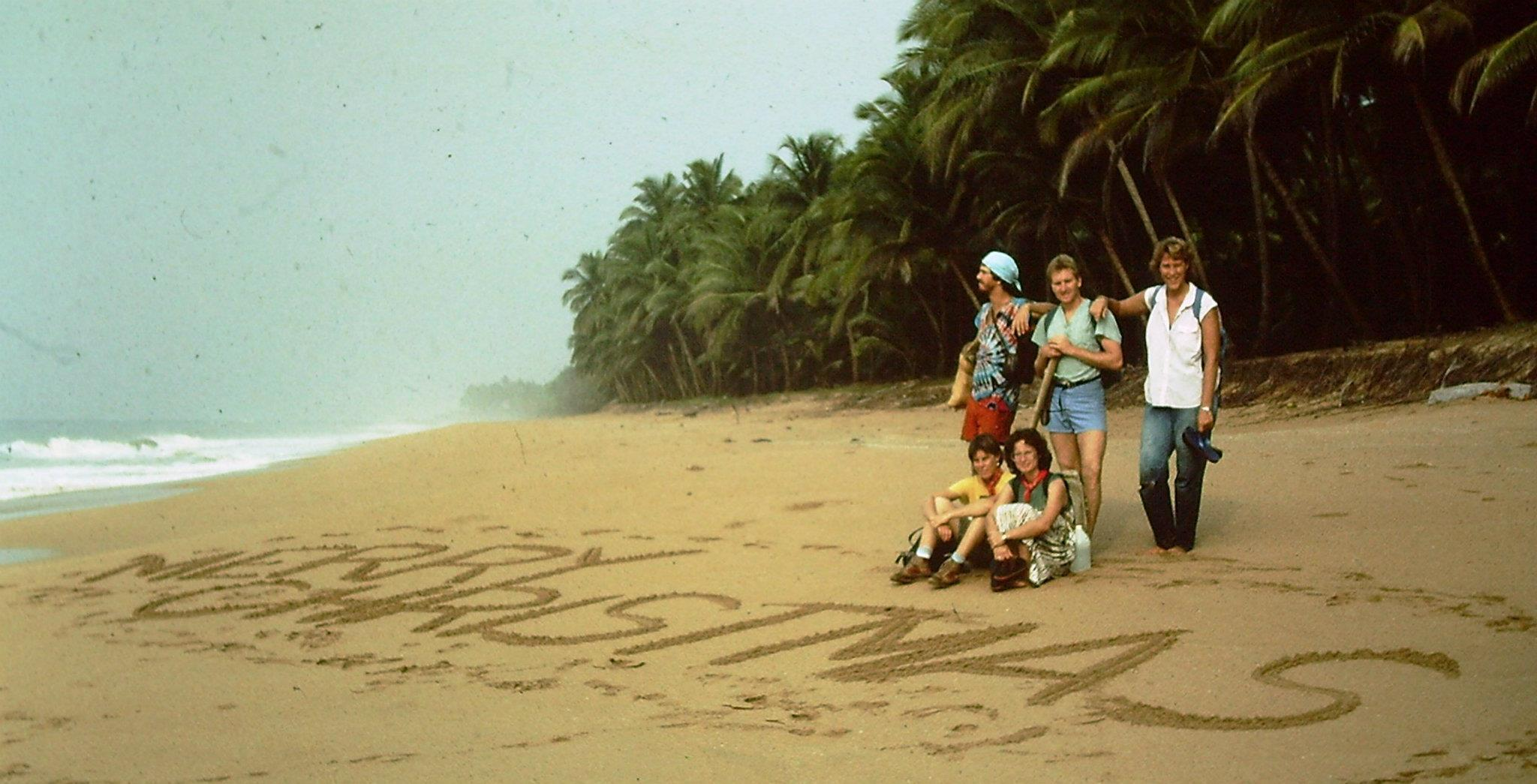 Kendra Phillips on a beach in Liberia 1985
