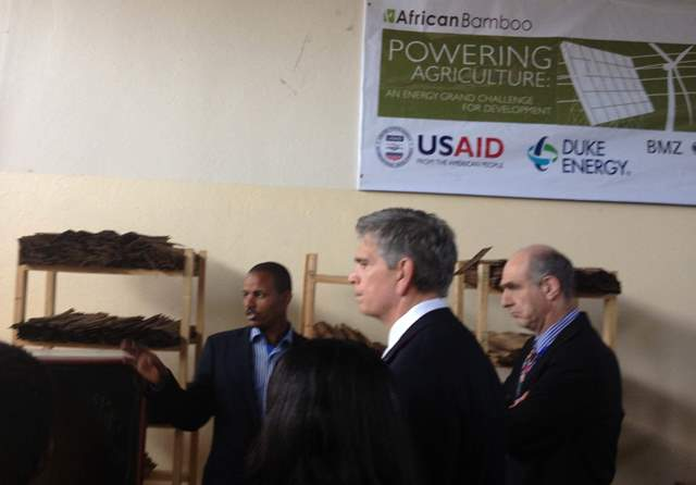 (l-r) Dr. Gulelat Gatew at African Bamboo describes his company's innovative technology at the Addis Ababa facility.