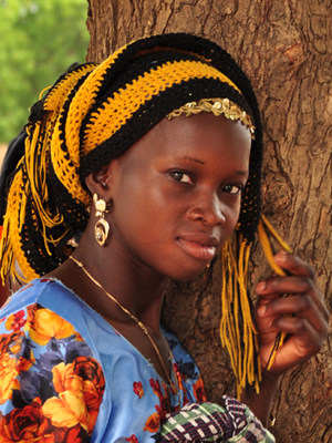 A young women in brightly colored clothing