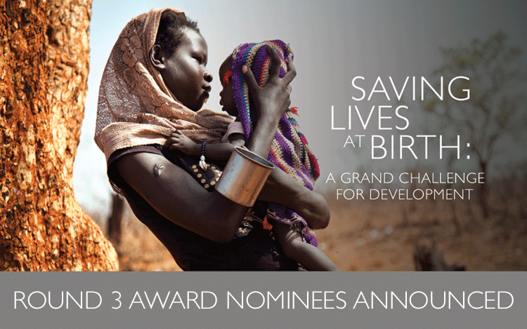 Saving Lives at Birth: A Grand Challenge For Development. Round 3 Award Nominees Announced. Photo of woman holding a baby.