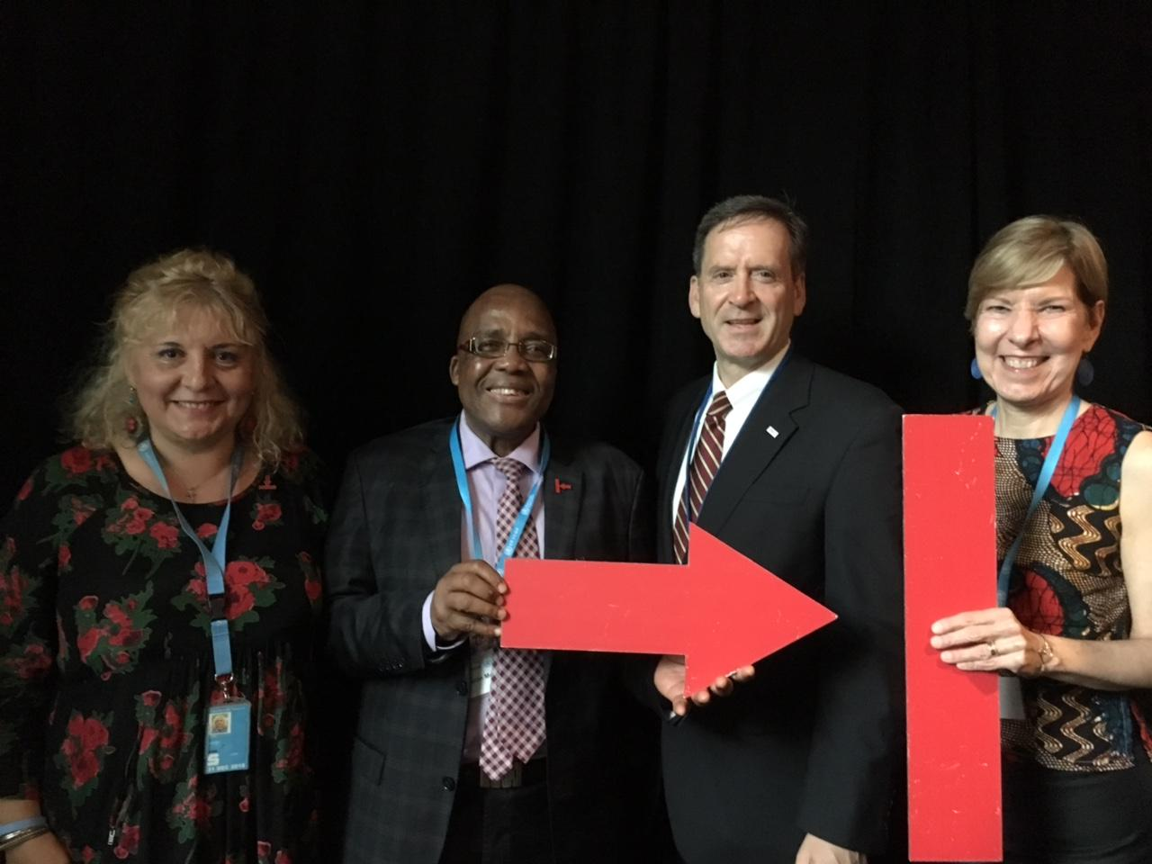 Stop TB Partnership Executive Director Dr. Lucica Ditiu; South Africa Minister of Health and Stop TB Coordinating Chair Dr. Aaron Motsoaledi; USAID Administrator Mark Green; and RESULTS Executive Director and Stop TB Coordinating Board Vice Chair Joanne Carter.
