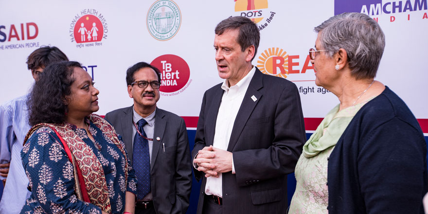 Administrator Green speaks with TB survivors during his trip to Hyderabad, India.  2017. Photo credit: USAID