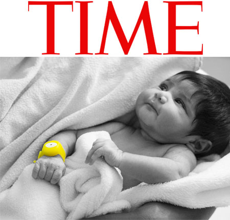 <br /> Logo for Time magazine with a photo of a baby.