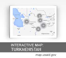 Interactive Map:  Turkmenistan map.usaid.gov
