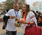 NGO volunteers consult on modern reproductive health choices during the USAID information fair in Vinnytsia.