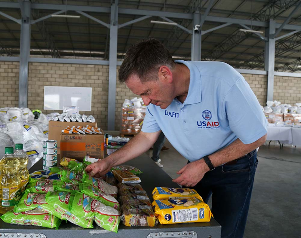 Administrator Green visits a warehouse in Cucuta