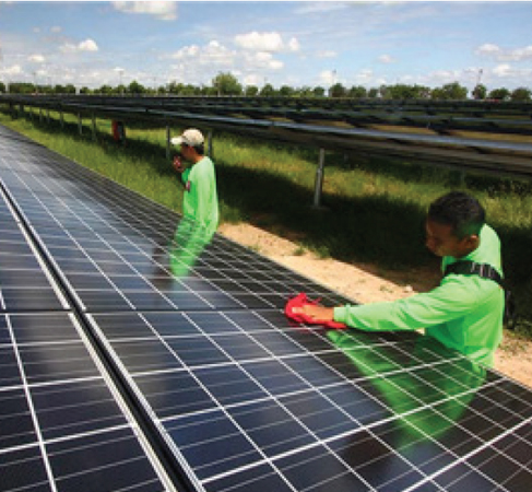 Workers at a solar farm clean a panel